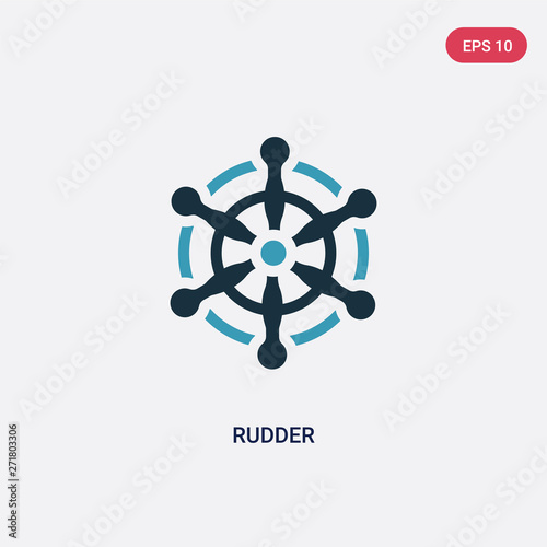 Платно two color rudder vector icon from travel concept