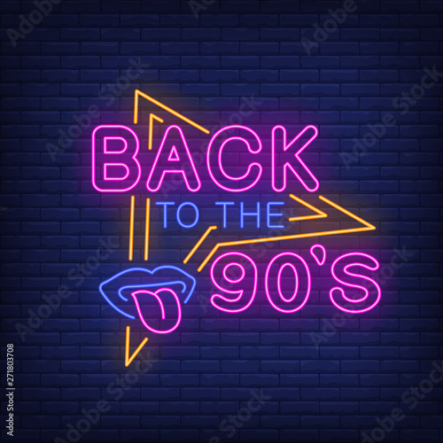 Back to nineties neon lettering with lips and tongue Canvas-taulu