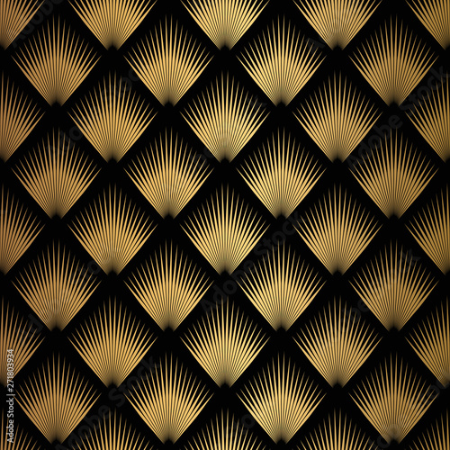 Tapeta do sypialni  art-deco-pattern-seamless-black-and-gold-background