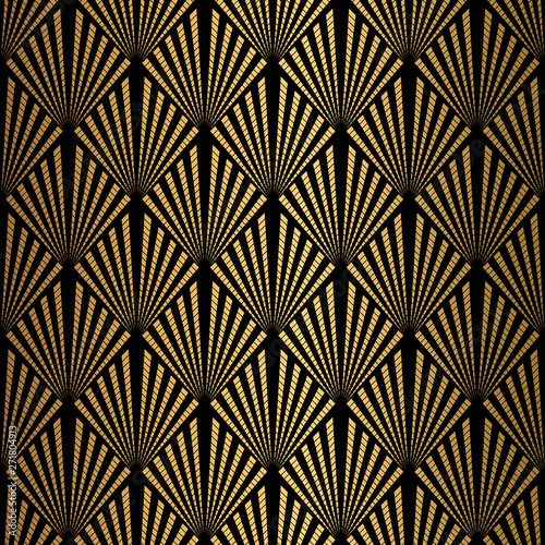 Photographie Art Deco Pattern. Seamless black and gold background.