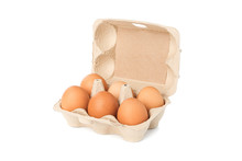 Brown Chicken Eggs In Carton Box Isolated On White Background