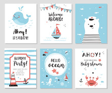 Nautical Baby Shower Cards. Cute While, Little Bear And Quotes.  Marine Theme Kids Party Invitations And Nursery Posters. Vector Illustration.