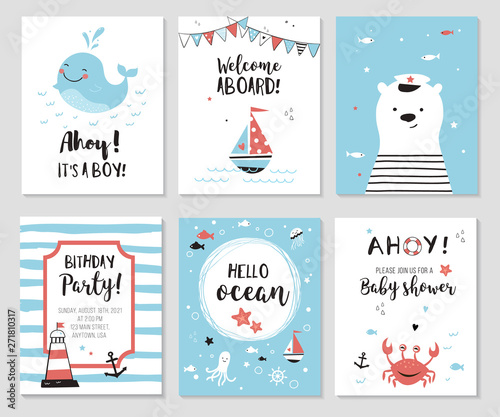 Fototapeta Nautical baby shower cards. Cute while, little bear and quotes.  Marine theme kids party invitations and nursery posters. Vector illustration. obraz