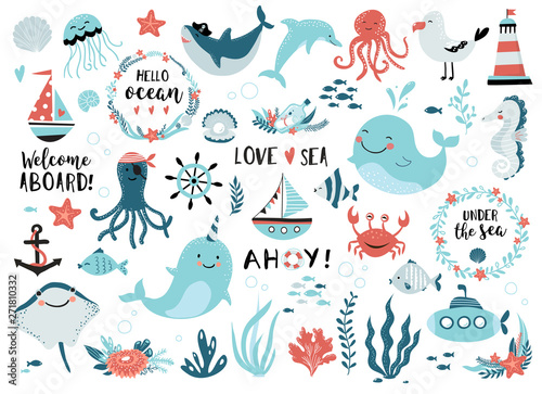 Fotografie, Obraz Under the sea set  cute whale, narwhal, ship, lighthouse, anchor, marine plants and wreaths, quotes and other
