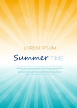 Summer Time Background With Text. Vertical Vector Illustration Of A Glowing Sky. Poster With Copy Space