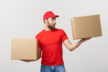 Portrait Delivery Man In Cap W...