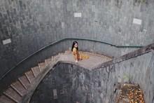 Woman Sitting On Stair Raillings