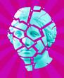 canvas print picture Modern conceptual art poster with blue purple broken antique Venus bust. Contemporary art collage.