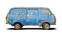 Old Blue Battered Van Side View Isolated On White