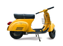 Classic Yellow Scooter Isolated On White
