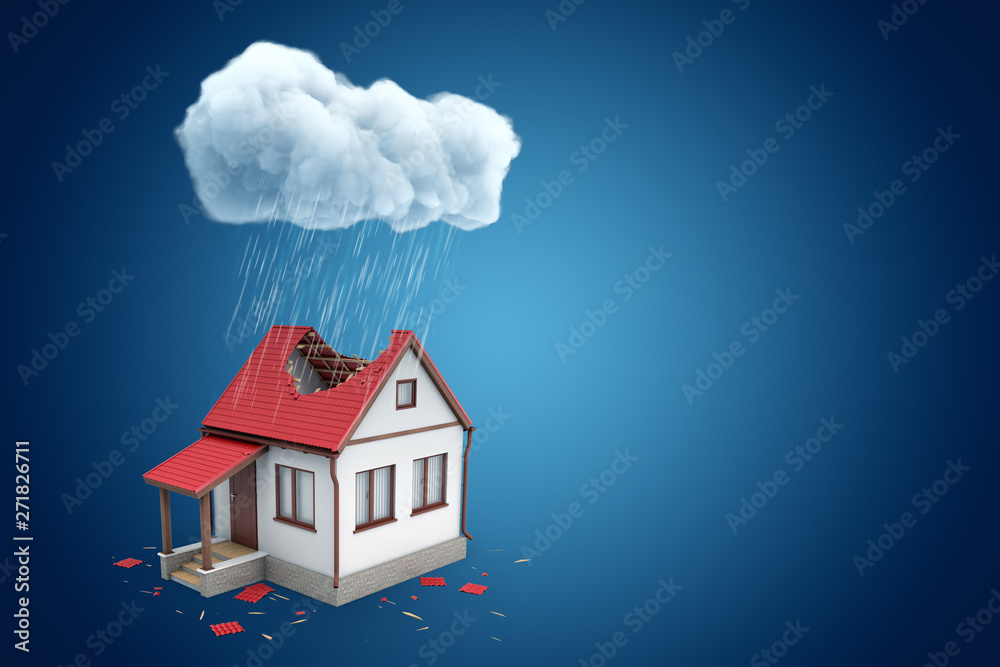 Obraz 3d rendering of little detached house with big hole in roof, standing under rainy cloud, on blue background with copy space. fototapeta, plakat