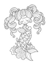 The Little Mermaid With Two Tails Keeps The Fish. Page For Coloring Book, Greeting Card, Print And Poster. Hand-drawn Vector Illustration.