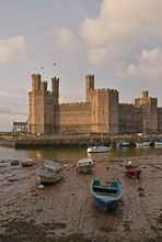 Castle And Moored Boats At Har...
