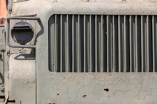 Metal Parts Of The Body Of Military Equipment Close-up. Armored War Machine. Steampunk Background