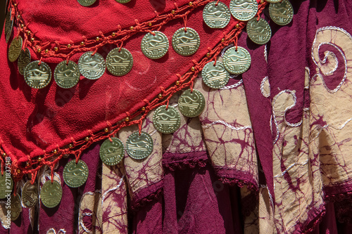 Background of draped gypsy shawls with decorative coin and bead fringe and disti Canvas Print