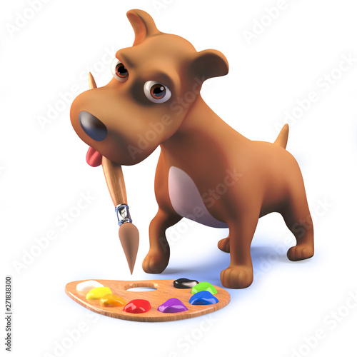 Cute puppy dog in 3d playing with a paintbrush and palette Canvas-taulu