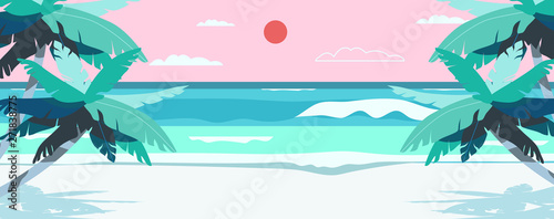 Foto auf AluDibond Weiß Vector illustration of a beach and a sea coast landscape. Creative summer banner or landing page for tour operator or travel agency. Summer theme background.