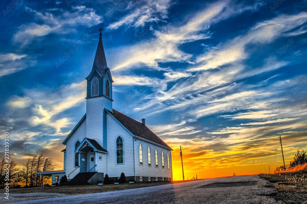 Fototapety, obrazy: Ellis County, KS USA - A Lone Church at Dusk in the Western Kansas Prairie