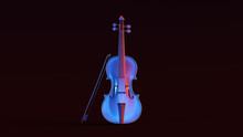 Silver Violin With Red Blue Moody 80s Lighting Front 3d Illustration 3d Render