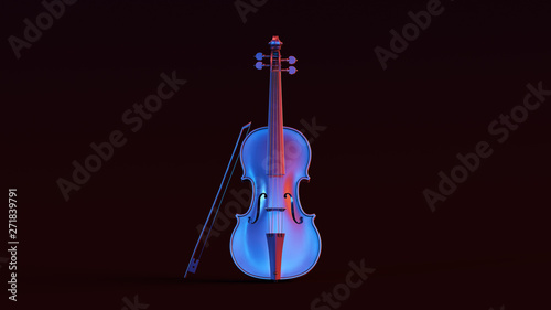Foto Silver Violin with Red Blue Moody 80s lighting Front 3d illustration 3d render