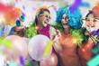 Leinwandbild Motiv party mädchen frauen gruppe mit perücken und tröte und konfetti
