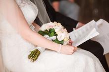 Bride Reading Wedding Vows.
