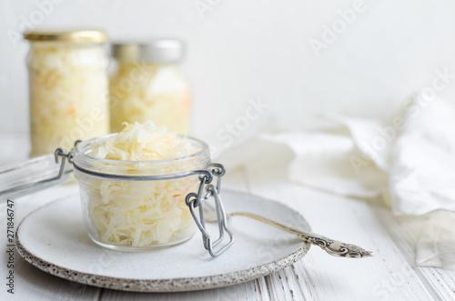 Vászonkép Homemade sauerkraut fermented cabbage