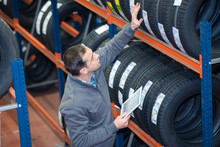Tire Repairman Working In Fact...