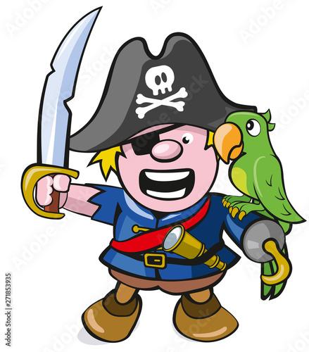 Niedlicher Pirat Mit Säbel Und Papagei Buy This Stock