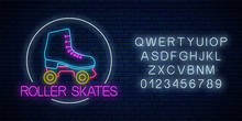 Retro Roller Skates Glowing Ne...