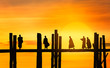 U Bein bridge and people at sunset