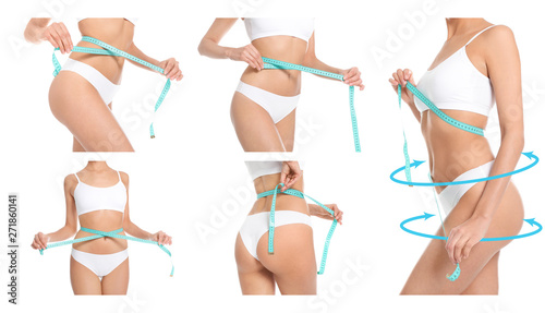 Obraz Set of attractive slim young woman in underwear measuring her body on white background, closeup - fototapety do salonu