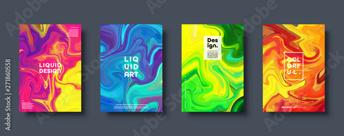 Colorful abstract geometric background. Liquid dynamic gradient waves. Fluid marble texture. Modern covers set. Eps10 vector. - 271860558