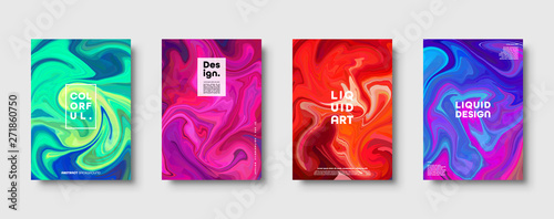 Canvas Prints Textures Colorful abstract geometric background. Liquid dynamic gradient waves. Fluid marble texture. Modern covers set. Eps10 vector.