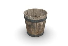Wood Bucket Isolated On White 3D Rendering