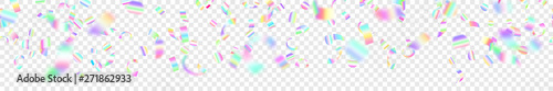 Foto auf Leinwand Texturen Abstract horizontal seamless banner of flying shiny colored confetti and pieces of serpentine, isolated on transparent background