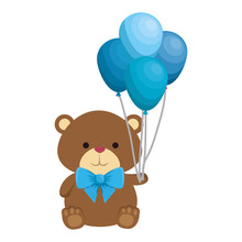 Cute Little Bear Teddy With Balloons Helium And Bowtie