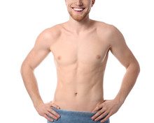 Young Man With Slim Body In To...
