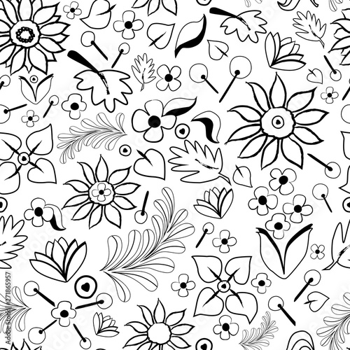 Poster Floral black and white Vector hand drawn doodle art black and white floral elements seamless pattern background. Perfect as graphic design elements, wallpaper, scrapbooking, invitations, or fabric applications.
