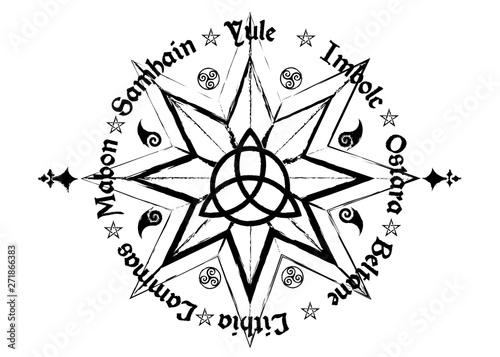 Carta da parati Book Of Shadows Wheel Of The Year Modern Paganism Wicca