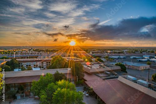 Photo Colorful Sunset Over Albuquerque New Mexico
