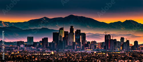 Early morning sunrise overlooking Los Angeles California
