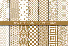Set Of Japanese Background. Seamless Pattern.Vector. 和風パターンコレクション