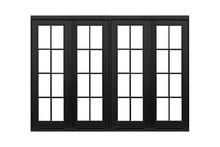 Black Aluminum Window Frame Isolated On White Background