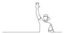 Continuous Line Drawing Of Young Healthy Man In Cap Giving High Five