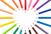 Heart Frame Of Colored Pencils...