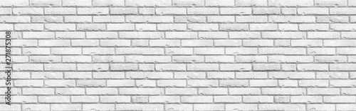 Photo sur Toile Brick wall Panorama of White grunge brick wall background seamless and texture