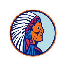 Mascot Icon Illustration Of Head Of A Cheyenne Brave, Chief Or Warrior, One Of The Indigenous People Of The Great Plains Of North America Wearing A Warbonnet Or Headdress Side View In Retro Style.