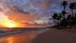 Sunrise, sea, palm trees and tropical island beach Punta Cana, Dominican republic