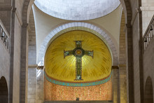 Top Part Of Prayer Hall In Church In Holy Place Of Sisters Notre Dame De Sion Near To Lion Gate In The Old City Of Jerusalem, Israel